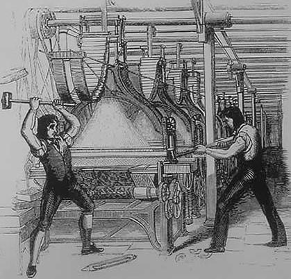 Un incisione del 1812 che ritrae la protesta dei Luddisti