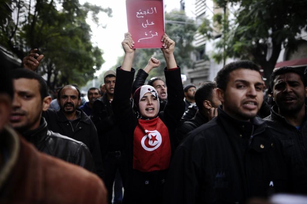 Manifestanti in Tunisia