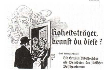 Vignetta della stampa nazista contro la predicazione dei Testimoni di Geova