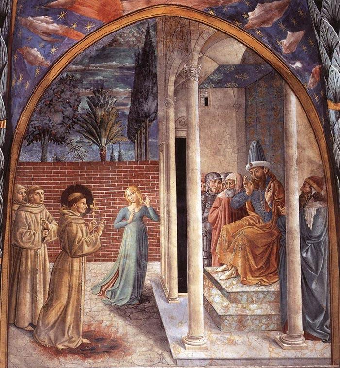 Francesco d'Assisi e il sultano al-Kamil, affresco di Benozzo Gozzoli