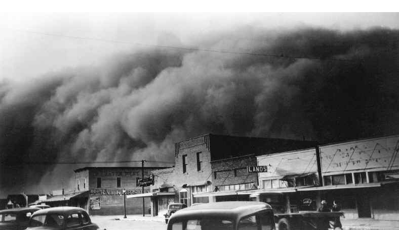 Una tempesta di sabbia a Elkhart, Kansas, 1937