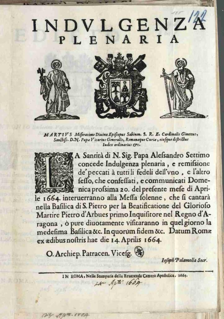 Un decreto di Indulgenza Plenaria emesso nel 1664