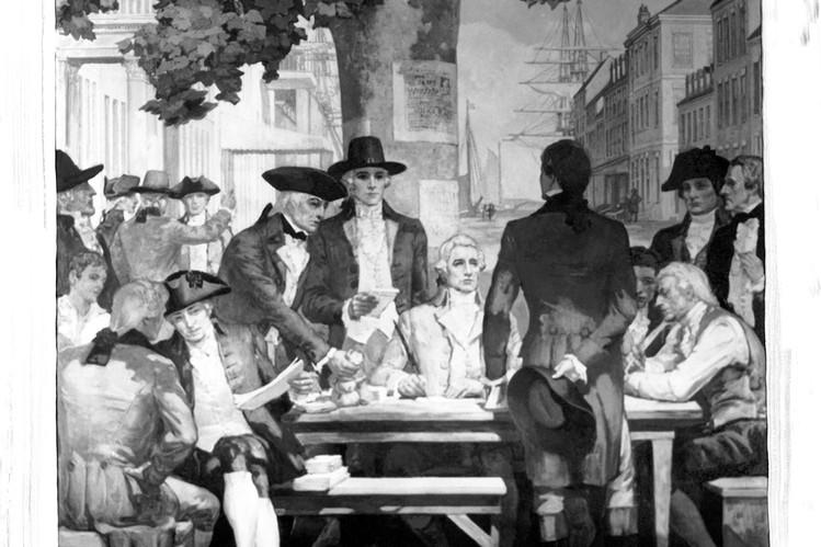 Incisione del 18° secolo che ritrae i broker sotto il sicomoro di Wall Street