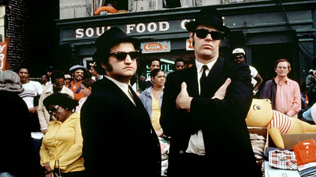 John Belushi e Dan Aykroyd  sul set del film Blues Brothers